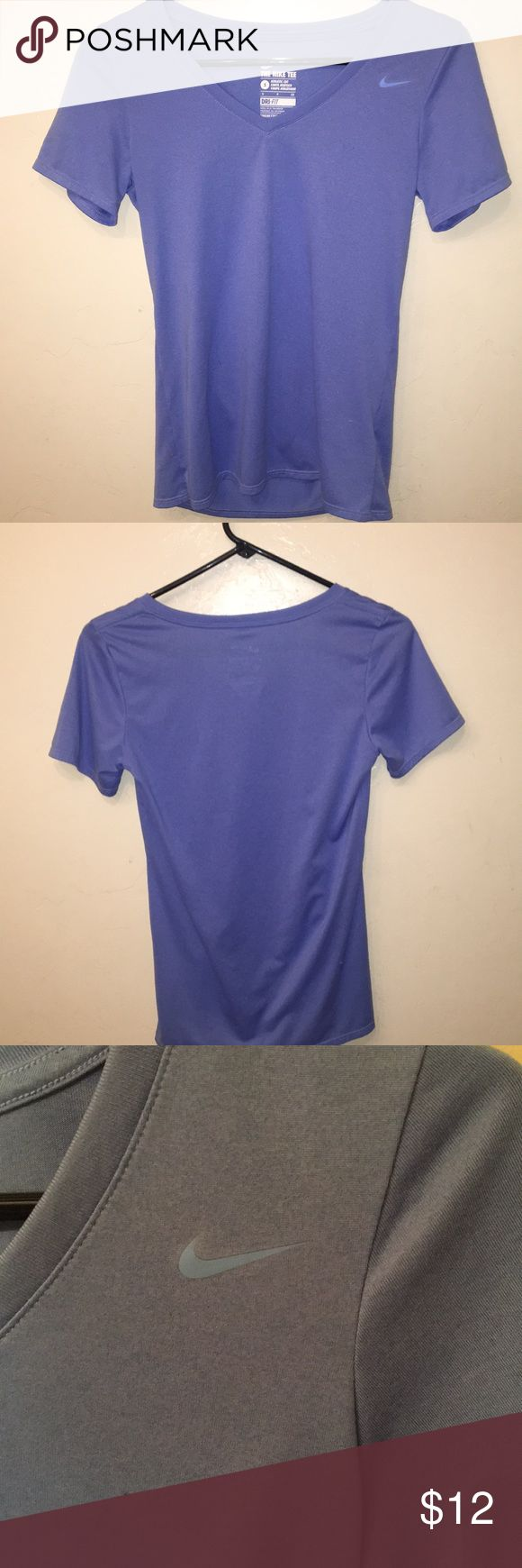 Nike Dri-fit tshirt This shirt is very light weight and breathable. The light blue color is really pretty. This shirt would be great for doing really any sort of physical activity. Only worn once! Nike Tops Tees - Short Sleeve