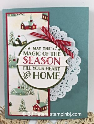 Cozy Christmas, Home for Christmas, Striped Ribbon, Doilies, BJ Peters, Stampin' Up!