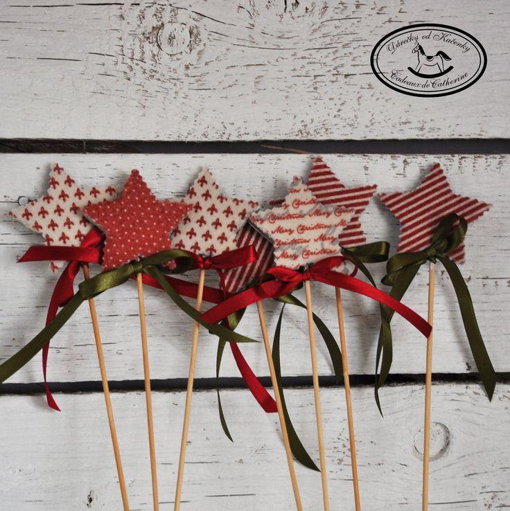 Hvězdy - zápich Vánoční zápich - hvězda s patinou z jedné strany dekorovaná filcem. Rozměry cca