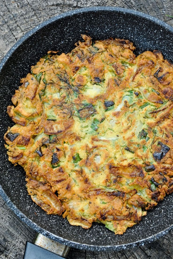 Vegan Chickpea and Onion Omelet