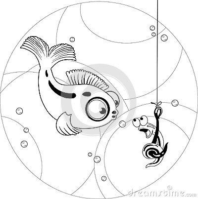 The illustration shows a funny cartoon fish that looks at the worm as fishing bait. Illustration done on separate layers.