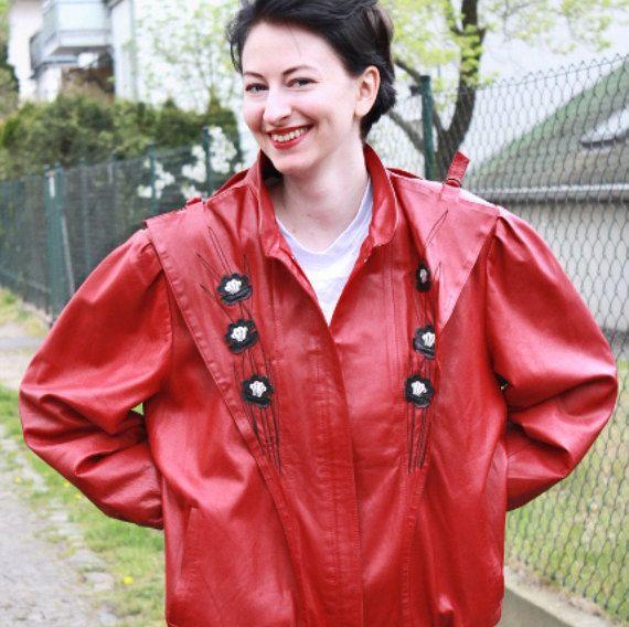 Vintage rote Lederjacke 80er von WollariumsVintage auf Etsy