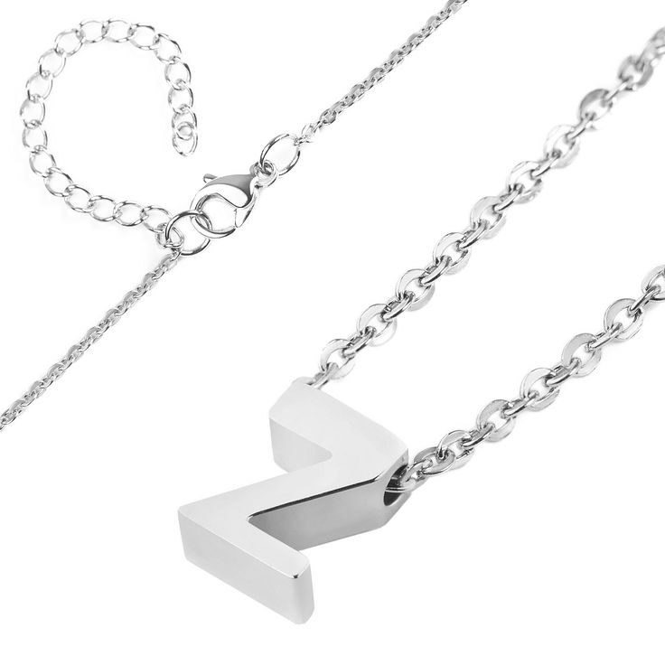 Women's Elya Stainless Steel Initial Pendant Necklace 'm', Size: Medium, Silver