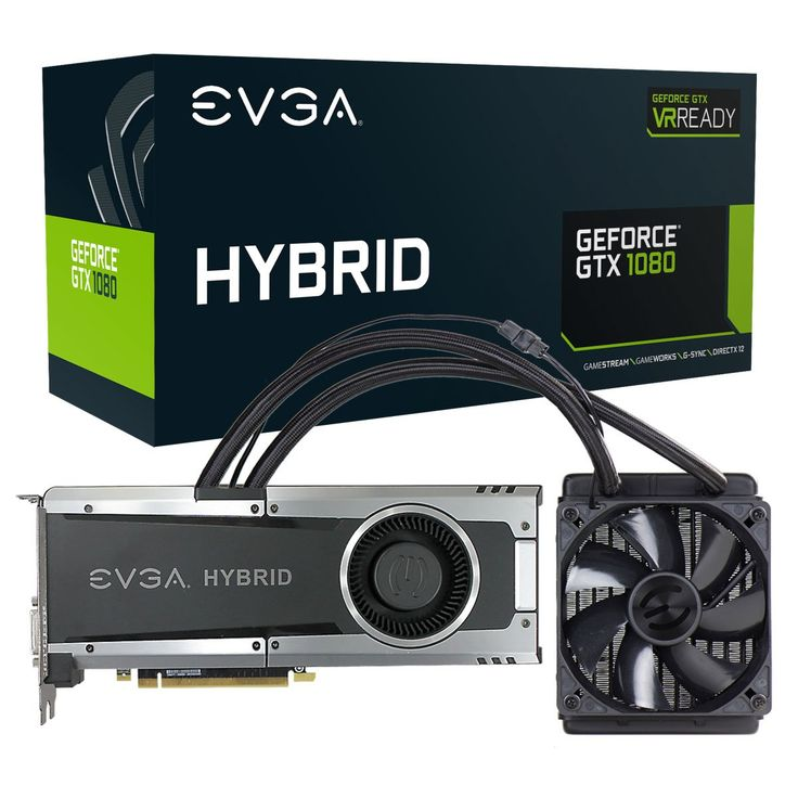 EVGA GeForce GTX 1080 HYBRID GAMING, 8GB GDDR5X, LED, All-In-One Water-cooling with 10CM FAN, DX12 OSD Support (PXOC) Graphics Card 08G-P4-6188-KR