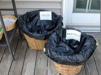 Use laundry hampers as extra garbage cans.