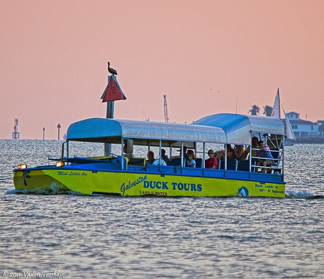 The Galveston Duck Tour is a unique way to see Galveston Island. On the Duck, you'll travel 40 blocks on Seawall Boulevard - overlooking the Gulf of Mexico  to Offats Bayou, where you'll then enter the water for a cruise across the bayou!  http://www.galveston.com/ducktours/