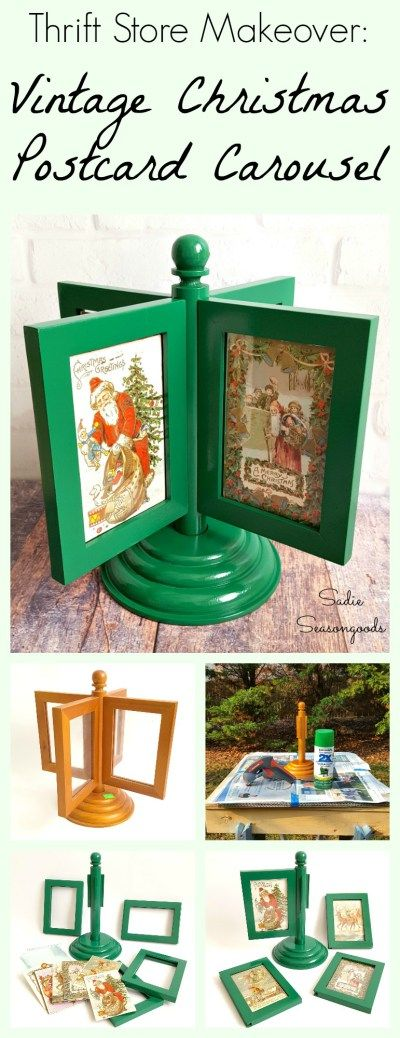 A spinning photo frame from the thrift store is given a festive makeover and repurposed as a DIY vintage Christmas postcard carousel! It's a nice alternative to a tabletop Christmas tree and is a safe and unique way to display antique Victorian postcards. Fun, easy holiday upcycle craft project from #SadieSeasongoods / www.sadieseasongoods.com