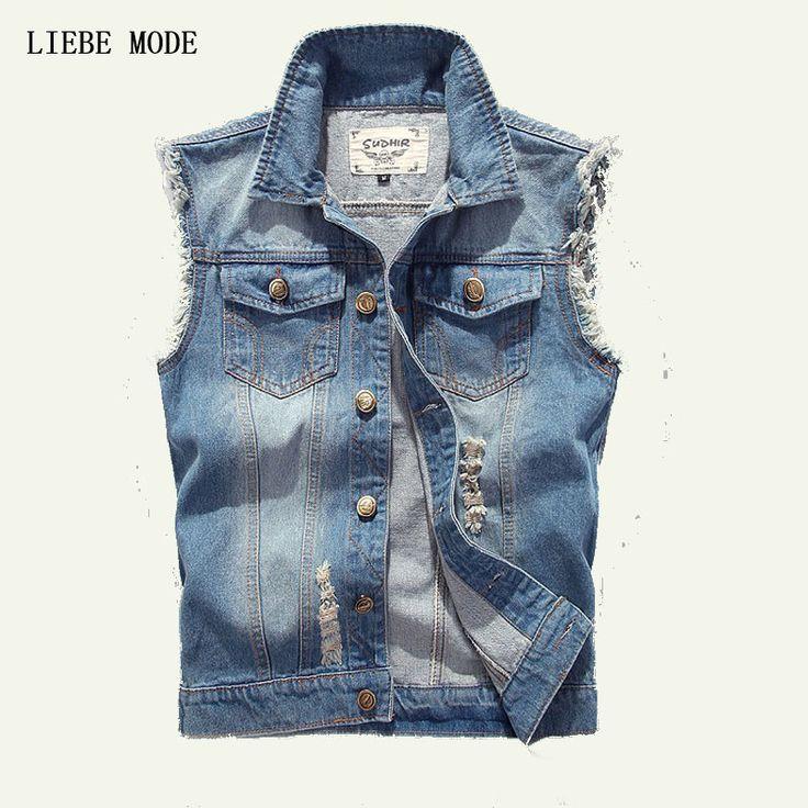 M-4XL 5XL Plus Size Summer Men's Sleeveless Jean Jackets Vest Of Men Denim Vests Waistcoat Big Size Chaleco Hombre #Affiliate