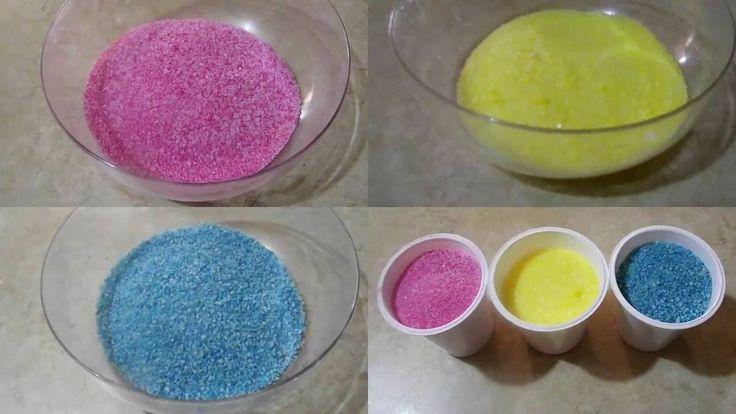 How to make colored salt for sensory play -  Χρωματιστό αλάτι για παιχνίδι!
