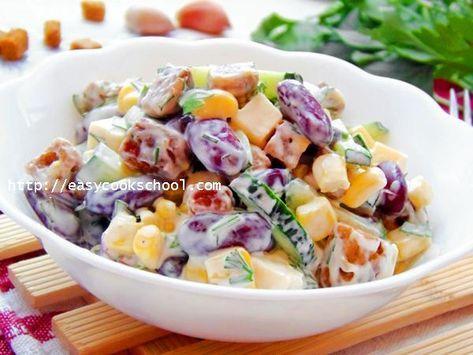 Салат с фасолью и сухариками: рецепт с фото | Легкие рецепты