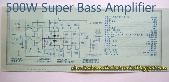 Super bass amplifier. Power amplifier circuit is very nice used for subwoofer applications with powerful bass tones. Power is quite high power amplifier, power power issued about 500 Watt