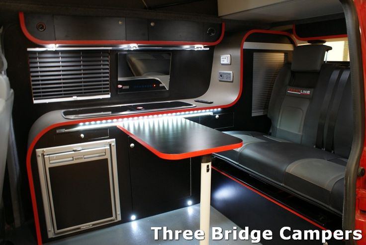... TRANSPORTER CAMPER CONVERSION INTERIOR - THREE BRIDGE - VIVARO TRAFIC