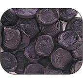 Licorice Pontefract Cakes.  A Chewy Black Licorice Named After The English Town Of Pontefract In Yorkshire Where It Was Originally Manufactured.
