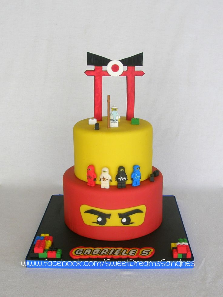 Lego Ninjago birthday cake-put the bottom layer as the top layer of the other lego cake