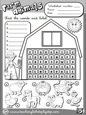 Farm  Animals - Worksheet 2 (B&W version)