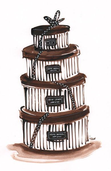 hat boxes in a stack