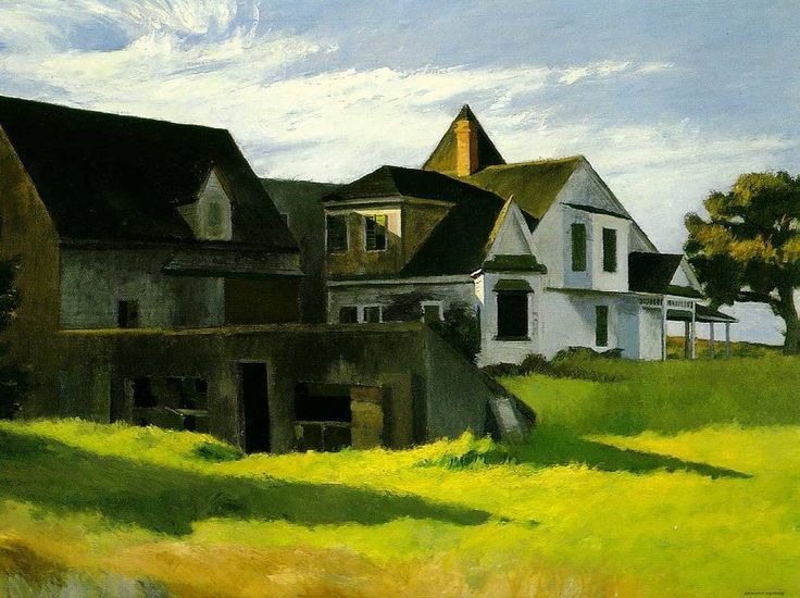 """Edward Hopper (American, American Realism, 1882-1967):  """"Cape Cod Afternoon 1936"""" Oil on canvas, 34 x 50 inches (86.4 x 127 cm). Museum of Art, Carnegie Institute, Pittsburgh, Pennsylvania, USA. © Heirs of Josephine N. Hopper, licensed by the Whitney Museum of American Art, New York."""