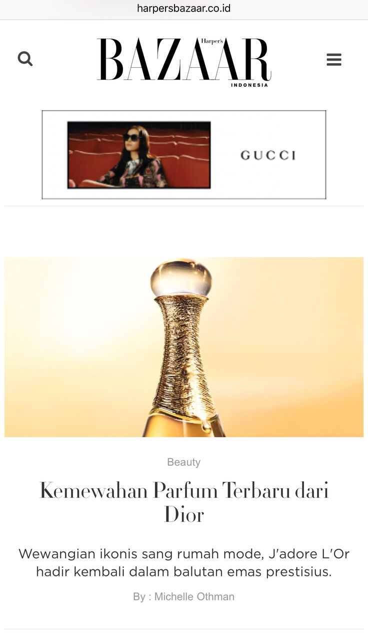 The new Dior J'adore L'Or perfume, article for Harper's Bazaar website