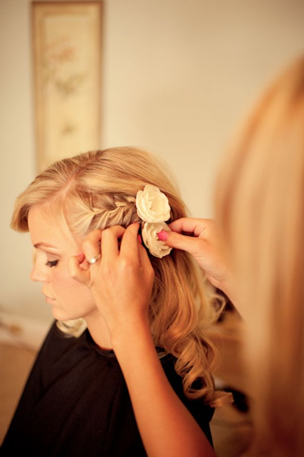 The Big day hair option??? Loving the french braid and touch of flowers:)