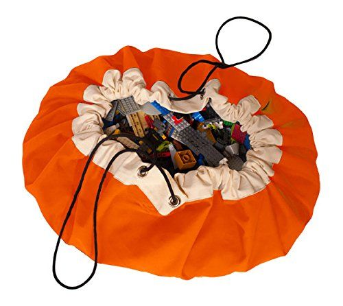 NEWSTYLE Children's Play Mat and Toys Storage Bag, Large 60 Inches Diameter Multi Purpose Kid's Activity Mat and Toys Organizer, Sturdy Canvas Material, Orange