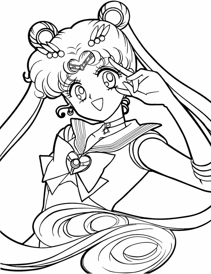 sailor moon was smiling beautiful coloring page for kids