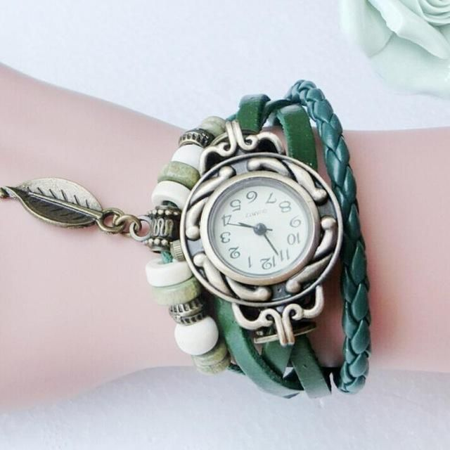 Watch Women Bracelet Fashion New Casual Women Children Retro Leatherwinding Bracelet Leaf Pendant Watch Watches