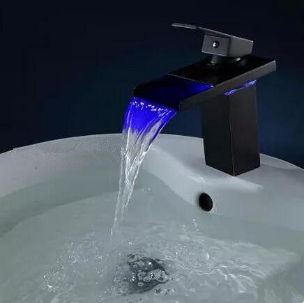 2016 New Black Bronze Brass Temperature Control LED Bathroom Sink Tap TB268L