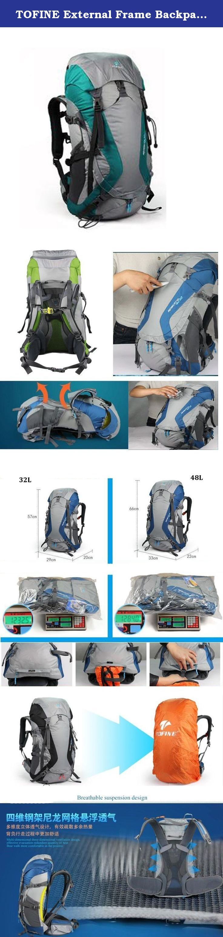TOFINE External Frame Backpack with Padded Strap Survival Whistle Buckle Hiking Day Backpacking with Rain Cover Tiffany 48 Liter. Tofine professional Backpack is ideal for various activities such as Climbing, Hiking, Holidays, Trveling and so much more. This hiking backpack is equipped with Thick shoulder straps for added comfort. External and external pockets are available and side pockets give you plenty of storage space for your gear. A waterproof removable cover is included. The main...