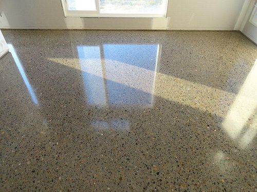 polished concrete with visible aggregate -for 1st floor but less shiny