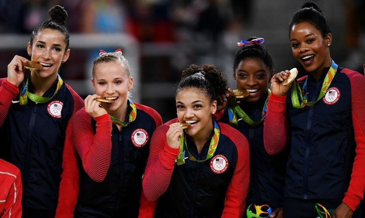 The final five! Five of America's heroes came in the form of the Team USA gymnastics squad during the 2016 Olympic games in Rio. Aly Raisman, Madison Kocian, Laurie Hernandez, Simone Biles and Gabby Douglas posed with their medals for this iconic shot after bringing home the gold in the Women's All Around competition.   Photo: David Ramos/Getty Images
