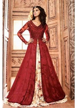 couleur rouge Anarkali de soie costume, - 139,00 €, #Tenueindienne #Robepakistanaise #Tenuebollywood #Shopkund