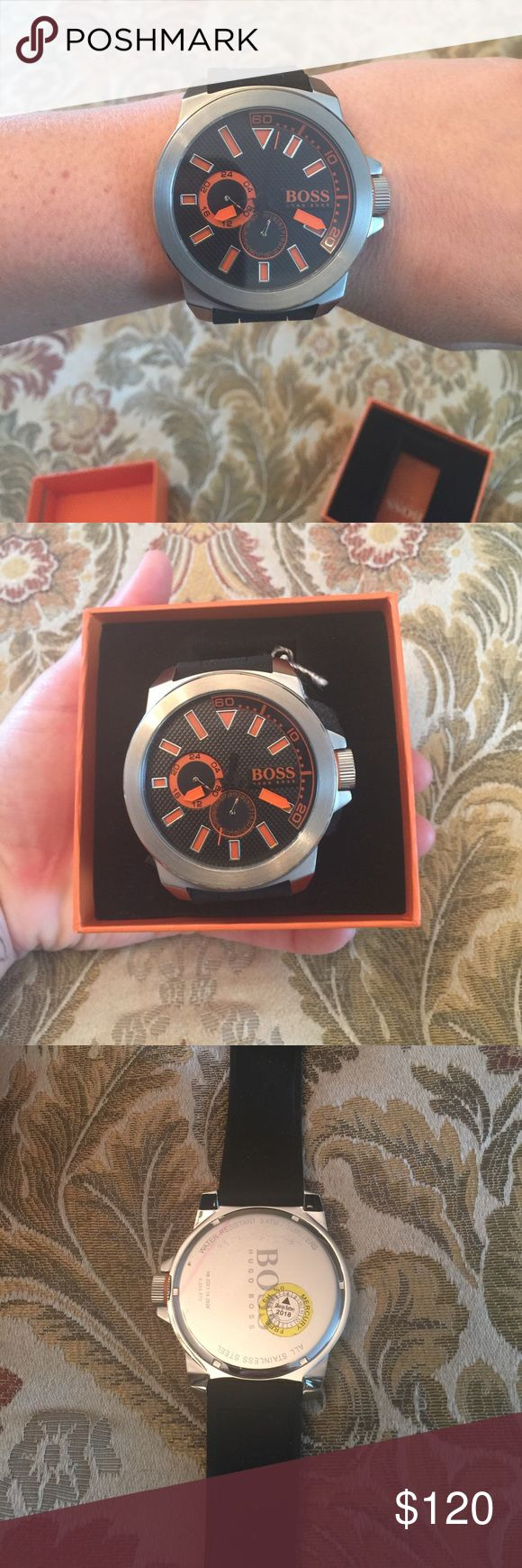 Hugo Boss Men's watch Hugo boss men's watch brand new in box never worn with tags! Stainless steel with black rubber band, adjustable. Hugo Boss Accessories Watches