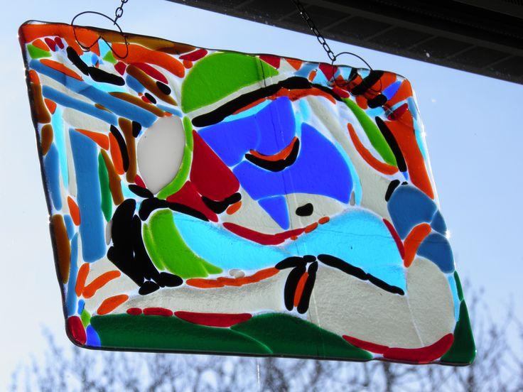 Slapend meisje; geïnspireerd op Picasso; glas; glasfusie