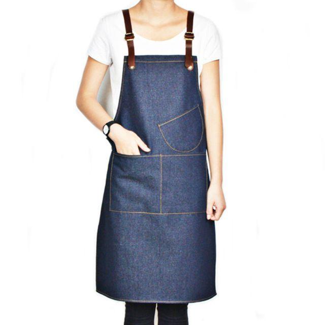 Unisex Blue Denim Bib Apron w/ Leather Strap Barber Barista Florist Bar Cafe Chef Uniform Tattoo Shop Craft-men Workwear K45
