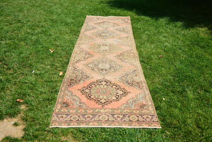 Excited to share the latest addition to my #etsy shop: Pale Pink/Peach Color Vintage Runner Rug 3.5' x 12.1' Handmade Turkish Carpet Geometric Designs Wool Rug Oushak Runner Rug Code 1153 http://etsy.me/2C9ekPy #housewares #rosegold #cotton #area #bohemianeclectic #rai