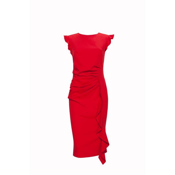 Rochie rosie eleganta ,mulata pe corp, cu volan vertical lateral Kartes