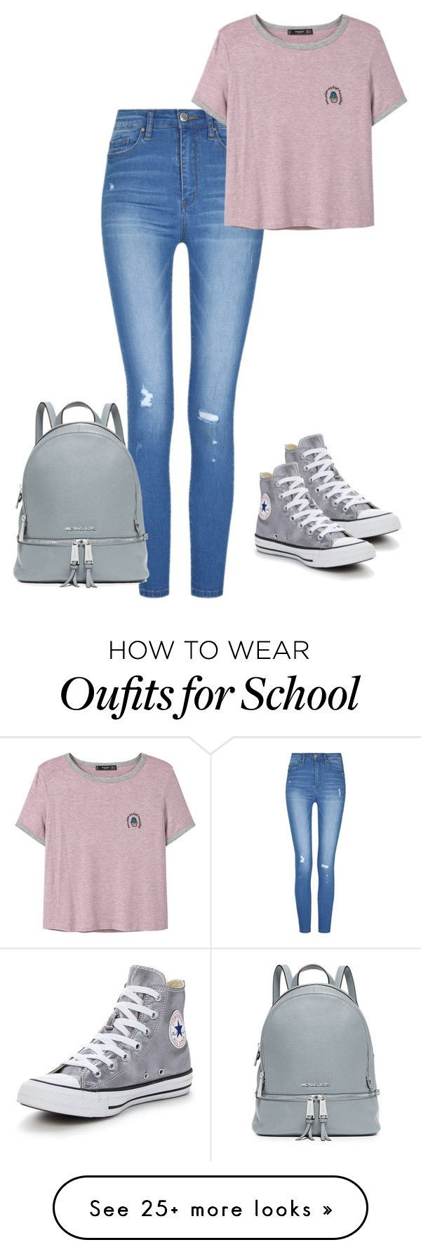 """Back to school"" by pocok01 on Polyvore featuring MANGO, Converse and MICHAEL Michael Kors #TeenFashion"