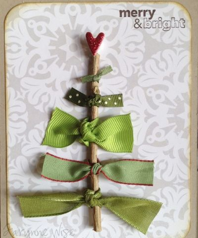 DIY Christmas Cards - Green Ribbons and Red Heart - Click pic for 25 Holiday Crafts