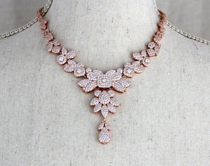 Rosa collar de oro rosa oro collar, joyería de la boda, collar Swarovski, collar de cristal, collar de declaración, boda Vintage