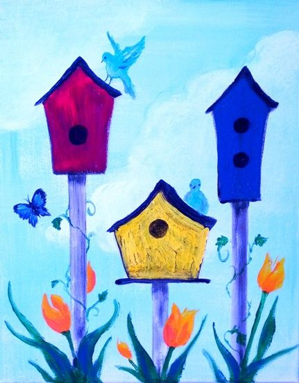 Crackle birdhouses picture for Journey Cove Canvas Painting Parties Green Cove Springs FL journeycove.com