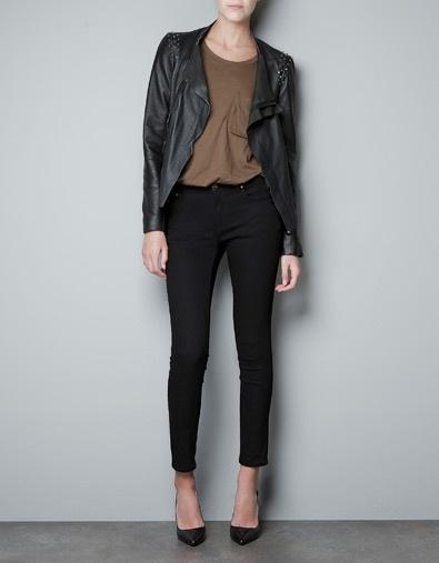 Zara asymmetric leather jacket: Fashion, Style, Details, Shoulderzara, Leather Jackets, Blazers, Zara United States, Products, Tempt Asymmetrical Leather