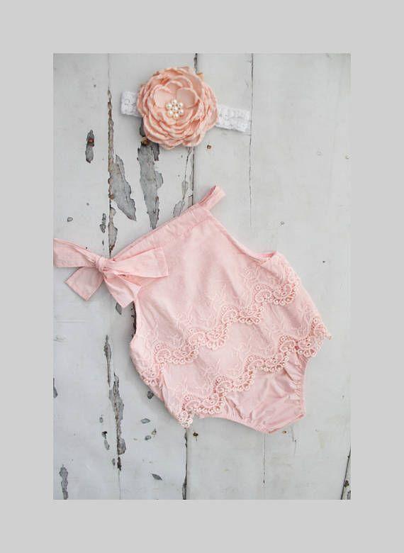 fd61aeef27d Summer Boho Chic Blush Pink Lace Romper   Headband. Newborn Baby ...
