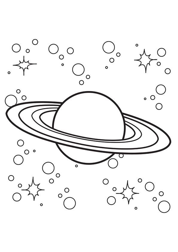 Planet Coloring Pages Saturn With Stars Planet Colors Dinosaur