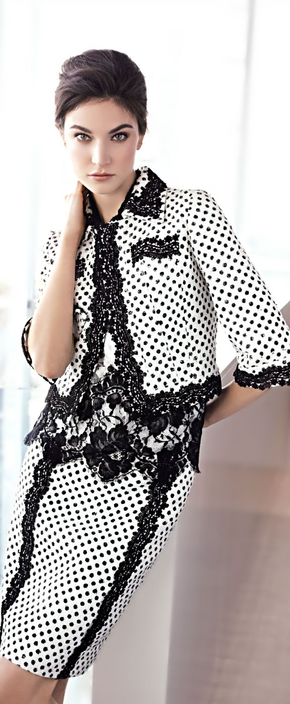 Black and white polka dotted pencil skirt and blazer with lace trim