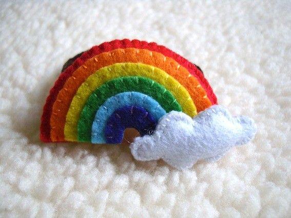 Felt Hair Bobble Cloud and Rainbow by LuluLyna on Etsy