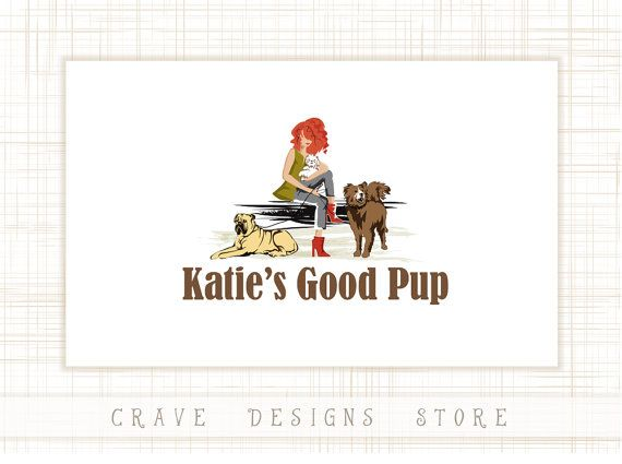 Illustrated Character Logo Girl with dog logo Illustration #123