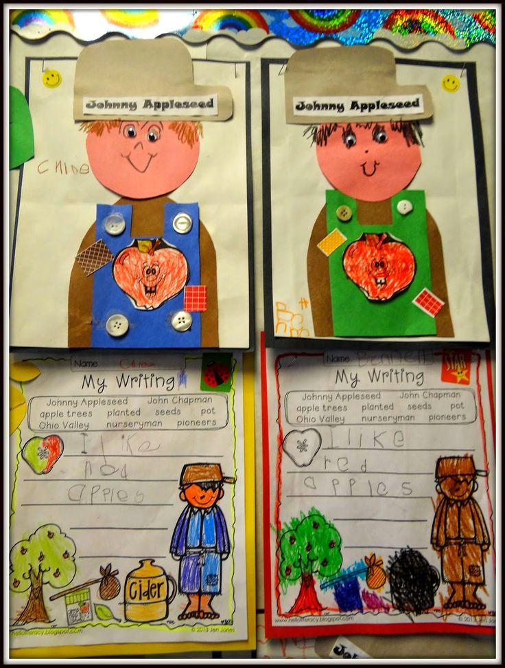 PATTIES CLASSROOM: Johnny Appleseed Art, Math and Writing Fun song, chart/graphing idea, cute Johnny, good links to activities on other sites, youtube video on Johnny Appleseed