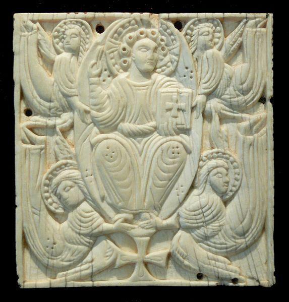 Ascension of Christ; Anglo-Saxon, 8th century AD; Ivory    Bayerisches Nationalmuseum München, Inv. MA 158; erworben 1870 in Welschellen (Pustertal)