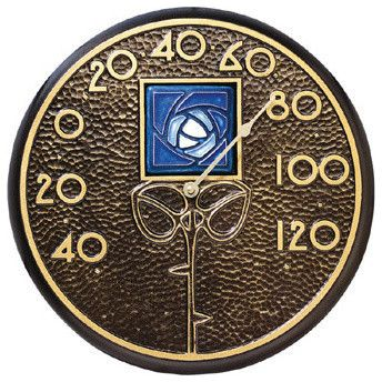 French Bronze Blue Dard Hunter Rose Thermometer traditional-decorative-thermometers