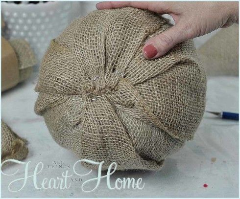 How to wrap a Dollar Store pumpkin in burlap. This was a great way to turn my Halloween decor into Thanksgiving decor! Winner! :o)